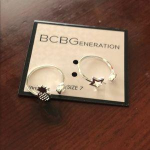 BCBG Stackable Rings Pineapple Star Rhinestone